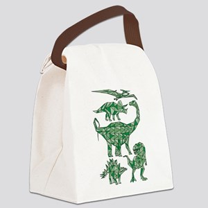 Geometric Dinosaurs Canvas Lunch Bag